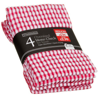 gallery/4pk terry mono check tea towels